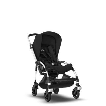 Bugaboo Bee 5 seat stroller black sun canopy, black fabrics, aluminium base