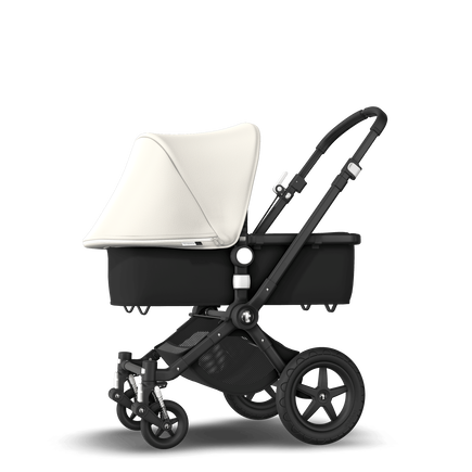 Bugaboo Cameleon 3 Plus seat and bassinet stroller fresh white sun canopy, black fabrics, black base