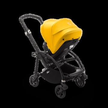 Bugaboo Bee 6 seat stroller lemon yellow sun canopy, black fabrics, black base