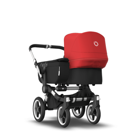 Bugaboo Donkey 3 Mono seat and bassinet stroller red sun canopy, black style set, aluminium base