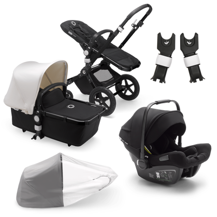 Bugaboo Cameleon 3 Plus travel system fresh white sun canopy, black fabrics, black base