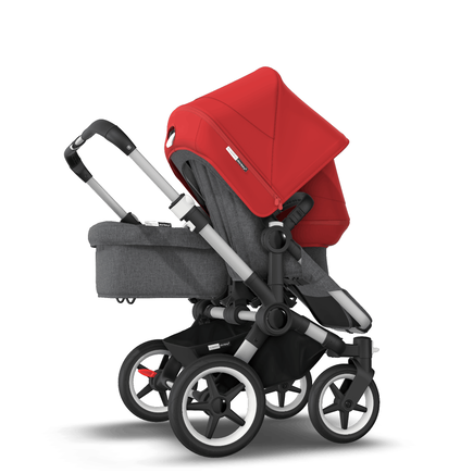 AU - Bugaboo Donkey 3 Duo Seat and Bassinet Stroller Red sun canopy, Grey Melange style Set, Aluminum chassis