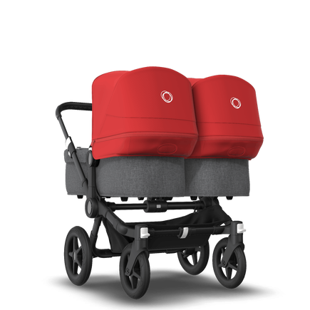 Bugaboo Donkey 3 Twin seat and bassinet stroller red sun canopy, grey melange fabrics, black base