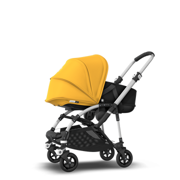 Bugaboo Bee 5 seat and bassinet stroller sunrise yellow sun canopy, black fabrics, aluminium base