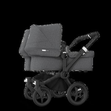 Bugaboo Donkey 3 Twin seat and bassinet stroller grey melange sun canopy, grey melange style set, black base