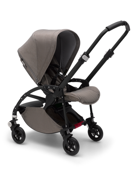 Bugaboo Bee 5 seat stroller mineral taupe melange sun canopy, mineral taupe melange fabrics, black base