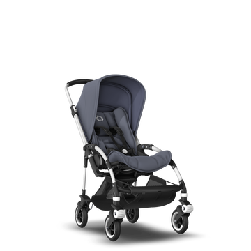 Bugaboo Bee 5 seat pushchair steel blue sun canopy, steel blue fabrics, aluminium base