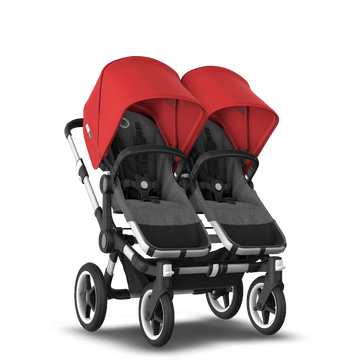 Bugaboo Donkey 3 Twin red canopy, grey melange seat, aluminum chassis