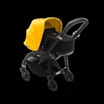 Bugaboo Bee 6 seat and carrycot pushchair lemon yellow sun canopy, black fabrics, black base
