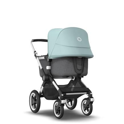 Fox 2 Seat and Bassinet Stroller Vapor Blue sun canopy, Grey Melange style set, Aluminium chassis