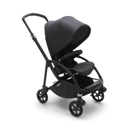 Bugaboo Bee 6 bassinet and seat stroller mineral washed black sun canopy, mineral washed black fabrics, black base