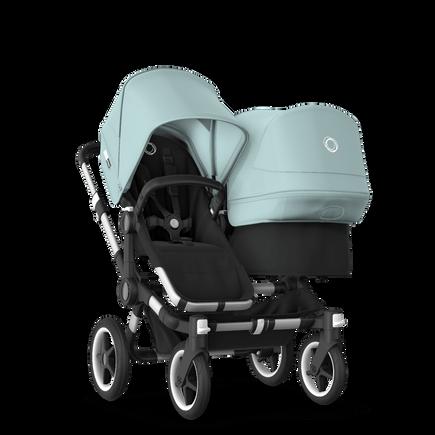 Bugaboo Donkey 3 Duo seat and bassinet stroller vapor blue sun canopy, black fabrics, aluminium base