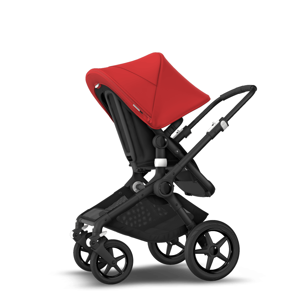 Fox 2 seat and carrycot pushchair - red sun canopy, black style set, black base