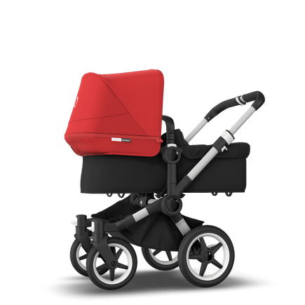 Bugaboo Donkey 3 Mono seat and bassinet stroller red sun canopy, black fabrics, aluminium base