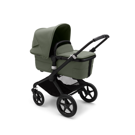 Bugaboo Fox 3 bassinet and seat stroller black base, forest green fabrics, forest green sun canopy