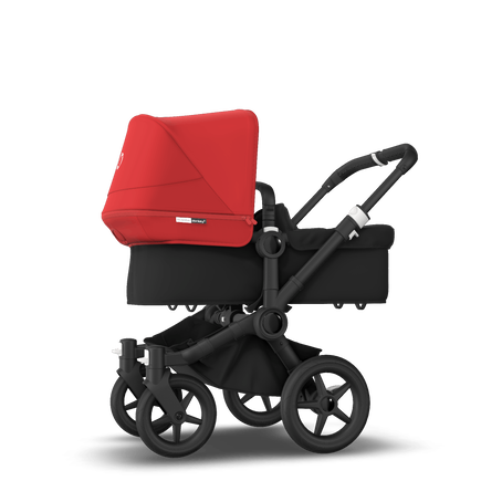 Bugaboo Donkey 3 Mono seat and bassinet stroller red sun canopy, black style set, black base