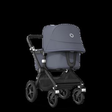 Bugaboo Fox 2 travel system steel blue sun canopy, steel blue fabrics, black base