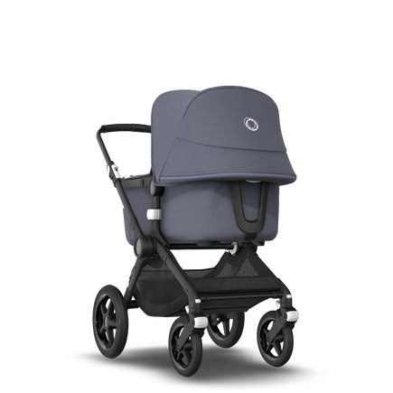 Bugaboo Fox 2 travel system steel blue sun canopy, steel blue fabrics, black base