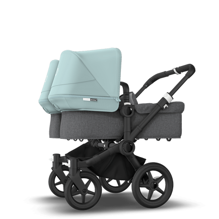 Bugaboo Donkey 3 Twin seat and bassinet stroller vapor blue sun canopy, grey melange fabrics, black base