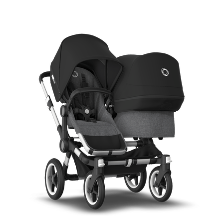Bugaboo Donkey 3 Duo seat and bassinet stroller black sun canopy, grey melange style set, aluminium base