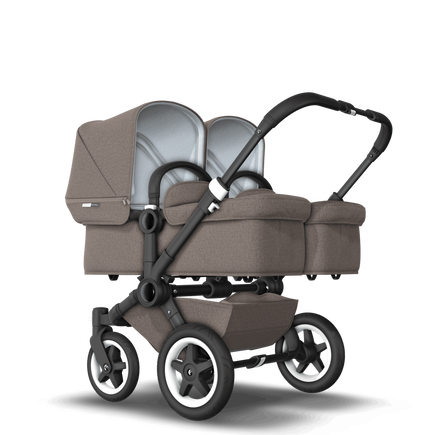 EU Bugaboo Donkey 2 Twin Seat and carrycot Mineral taupe melange, black Chassis