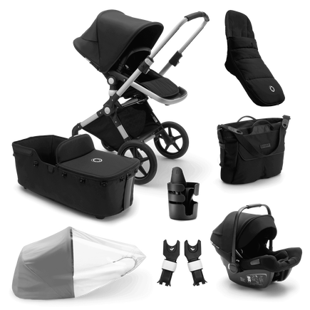 Bugaboo Lynx Ready to go bundle black sun canopy, black fabrics, aluminium base