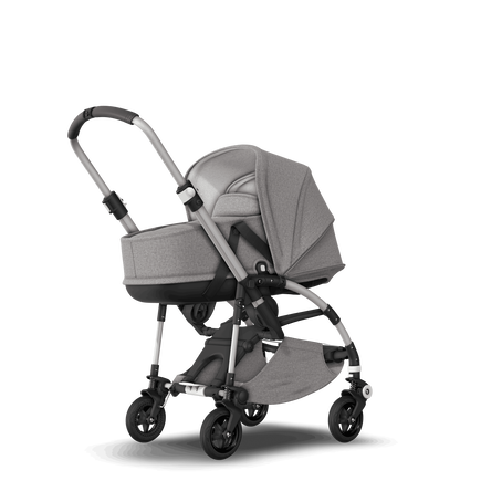 Bugaboo Bee 5 seat and bassinet stroller mineral light grey melange sun canopy, mineral light grey melange fabrics, aluminium base