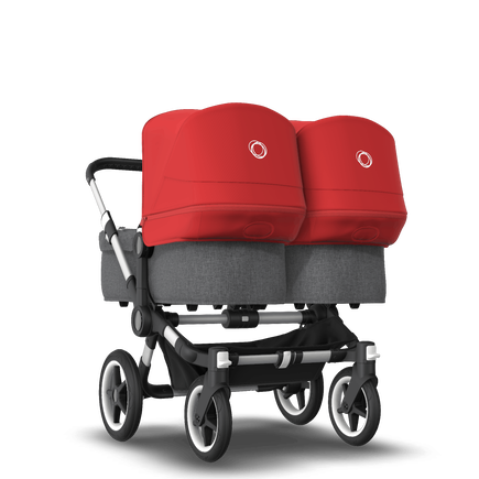 Bugaboo Donkey 3 Twin seat and bassinet stroller red sun canopy, grey melange style set, aluminium base
