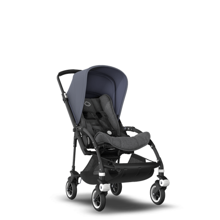 Bugaboo Bee 5 seat pushchair steel blue sun canopy, grey melange fabrics, black base