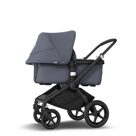 Bugaboo Fox 2 seat and bassinet stroller steel blue sun canopy, steel blue fabrics, black chassis