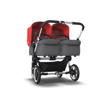 US - Bugaboo D3T stroller bundle aluminum grey melange red