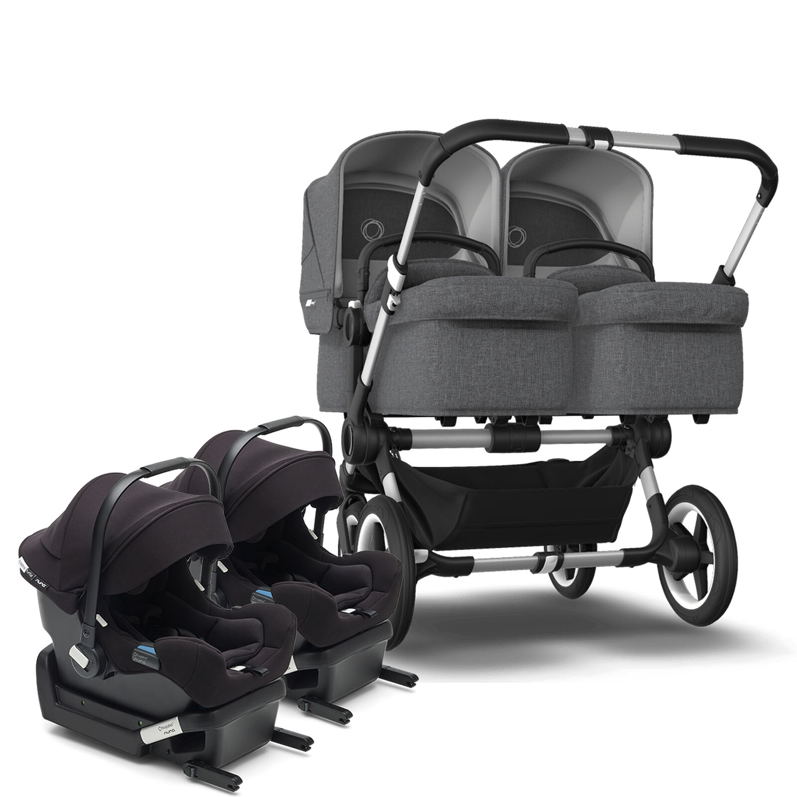 Bugaboo Donkey 3 Twin and Two Turtle One by Nuna car seats bundle