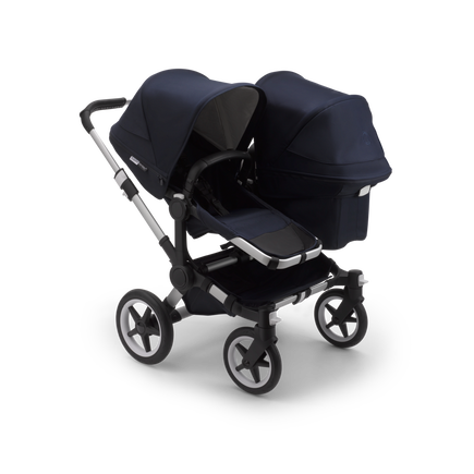 Bugaboo Donkey 3 Duo seat and bassinet stroller classic collection dark navy sun canopy, classic collection dark navy fabrics, aluminium base
