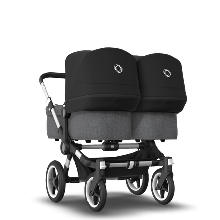 Bugaboo Donkey 3 Twin seat and bassinet stroller black sun canopy, grey melange style set, aluminium base