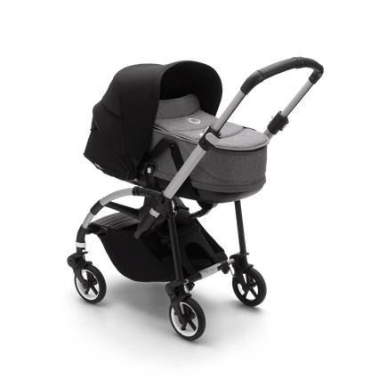 Bugaboo Bee 6 carrycot and seat pushchair black sun canopy, grey mélange fabrics, aluminium base