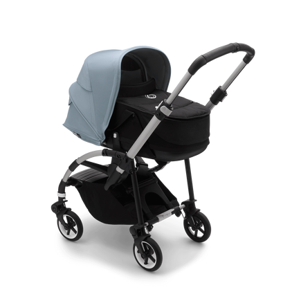 Bugaboo Bee 6 bassinet and seat stroller vapor blue sun canopy, black fabrics, aluminium base