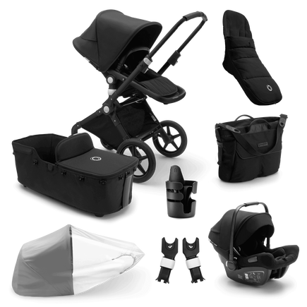 Bugaboo Lynx Ready to go bundle black sun canopy, black fabrics, black base
