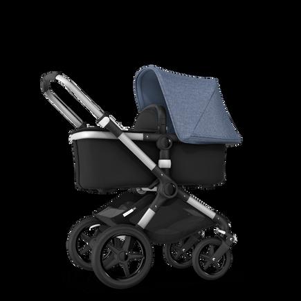 Bugaboo Fox blue melange sun canopy, black fabrics, aluminium chassis