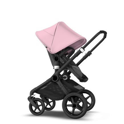 Bugaboo Fox 2 Seat and Bassinet Stroller soft pink sun canopy grey melange style set, black chassis