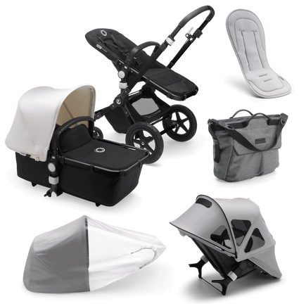 Bugaboo Cameleon 3 Plus bassinet and seat stroller fresh white sun canopy, black fabrics, black base and grey summer accessories