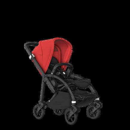 Bugaboo Bee 6 bassinet and seat stroller red sun canopy, black fabrics, black base