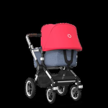 Bugaboo Fox neon red sun canopy, blue melange fabrics, aluminium chassis