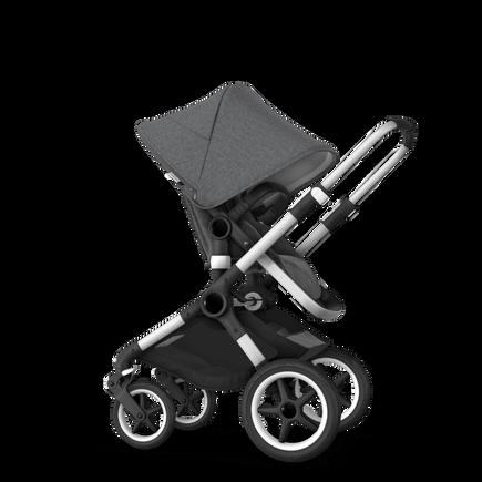 Bugaboo Fox 2 Seat and Bassinet Stroller Grey melange sun canopy grey melange style set, aluminum chassis