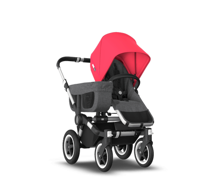 US - D2M stroller bundle aluminum, grey melange, neon red