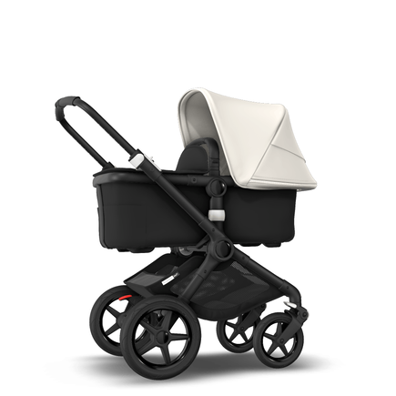 Fox 2 Seat and Bassinet Stroller Fresh White sun canopy, Black style set, Black chassis