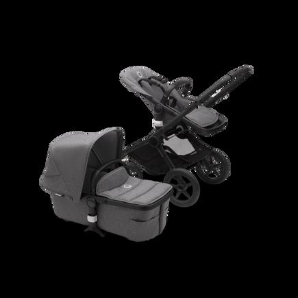 Bugaboo Fox 2 seat and bassinet stroller grey melange sun canopy, grey melange fabrics, black chassis