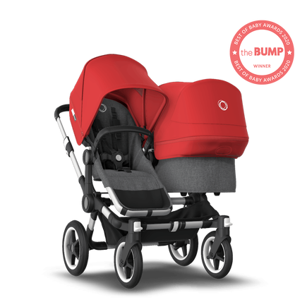 US - Bugaboo D3D stroller bundle aluminum grey melange red