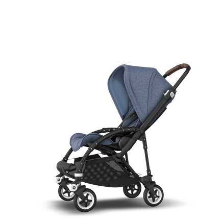 Bugaboo Bee 5 seat stroller blue melange sun canopy, blue melange fabrics, black base