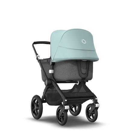 Fox 2 Seat and Bassinet Stroller Vapor Blue sun canopy, Grey Melange style set, Black chassis