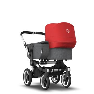 AU - Bugaboo Donkey 3 Mono Seat and Bassinet Stroller Red sun canopy, Grey Melange style Set, Aluminum chassis